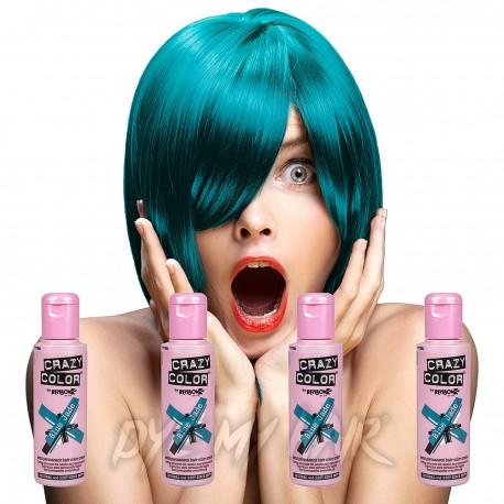 Crazy Color Pack De 4 Colorations Semi-Permanentes  100ml (Blue Jade)
