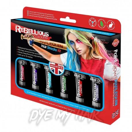 Paintglow Rebellious Colours Harlequin Hair Streaks Kit (Multicoloured)