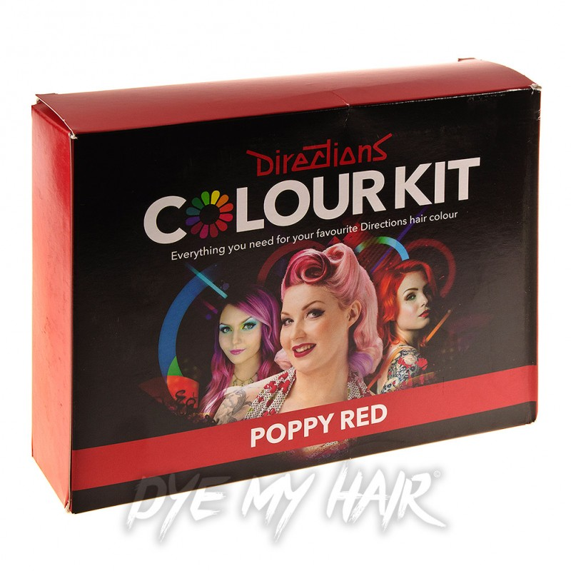 Directions Poppy Red Semi Permanent Hair Dye Kit Temporary Color
